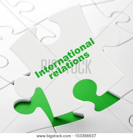 Politics concept: International Relations on puzzle background