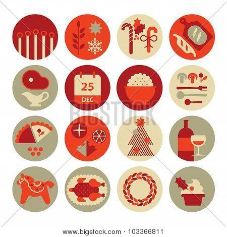 Christmas Food Icons.