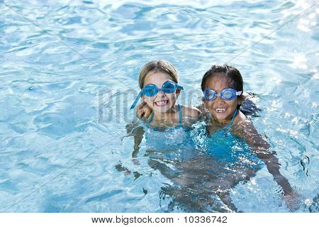Best Friends, Girls Smiling In Swimming Pool