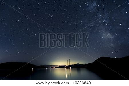 Stars and boats at night