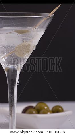 Martini with olive tray