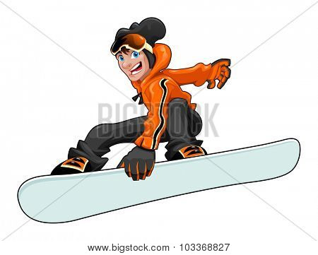 Funny snowboarder. Vector cartoon isolated character. In the vector file the snowboard is easily manageable to add graphics or textures.