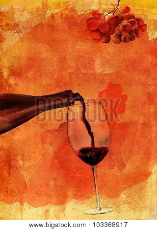 Watercolor Drawing Of Red Wine Poured Into A Glass With The Help Of Wine Aerator