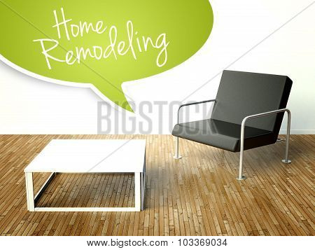 3D Home Remodeling With Table And Armchair