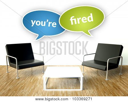 You Are Fired Concept, Office Interior With Armchairs