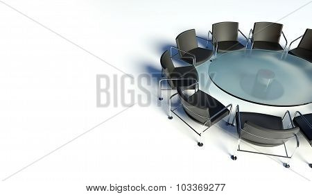 Workplace For Negotiations. Table And Armchairs
