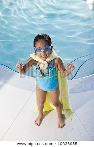 Super Girl Protecting The Pool