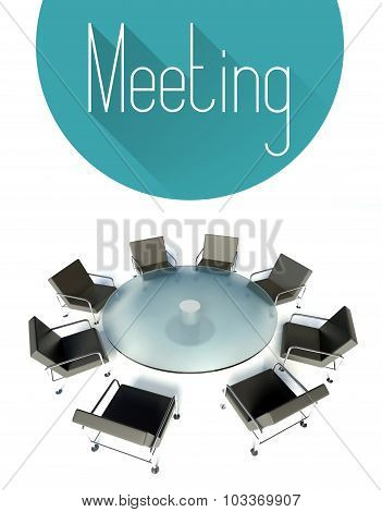 Business Meeting Illustration, Workplace For Negotiations