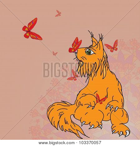 Fantasy predator doodling colored cat squirrel