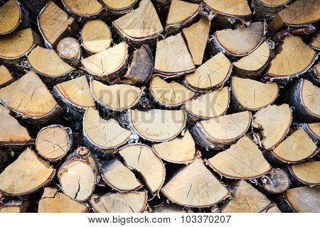 Close Up Of Stacked Firewood Background