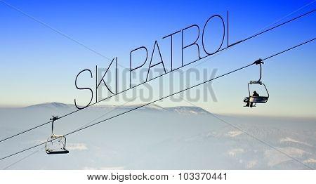 Ski Patrol On Lift, Creative Illustration
