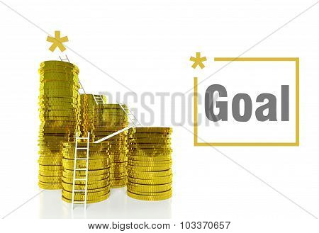 Success Goal Concept, Ladders On Coins