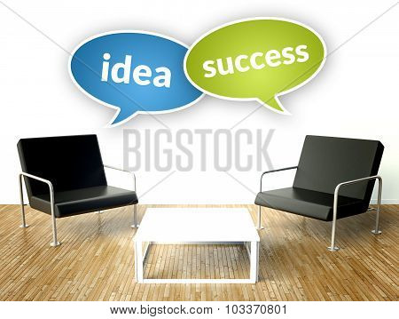 Idea Success Concept, Office Interior With Armchairs