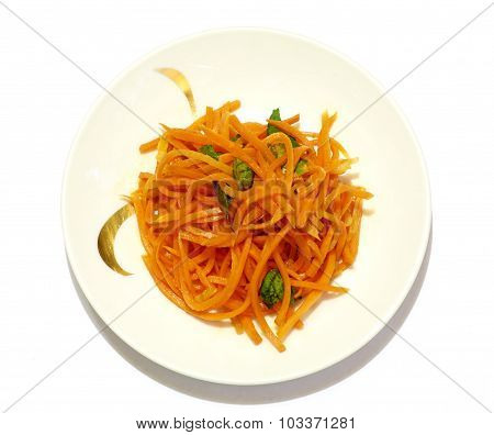 Grated Carrot Salad On The Plate