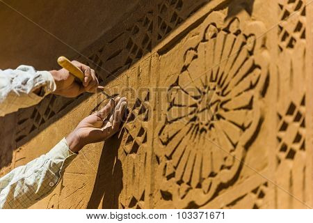 Selective Focus Shot Of Special Carving Technique For House Desi