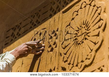 Selective Focus Shot Of Special Carving Technique For House Design In Morocco