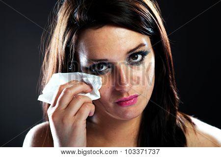 Hurt Woman Crying, Smeared Makeup