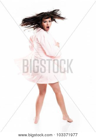 Surprised And Screaming Woman In Bathrobe