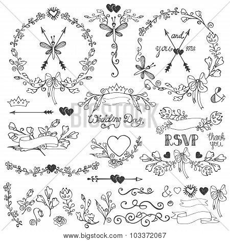 Doodles floral decor set.Borders,elements,wreath.Outline