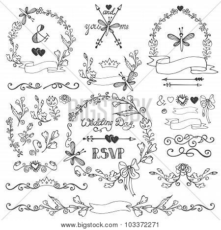 Doodles floral decor set.Borders,wreath,elements.Outline