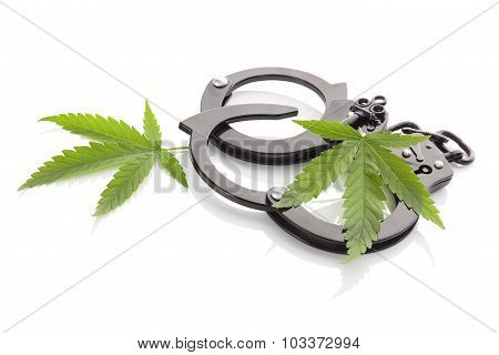Marijuana And Handcuffs.