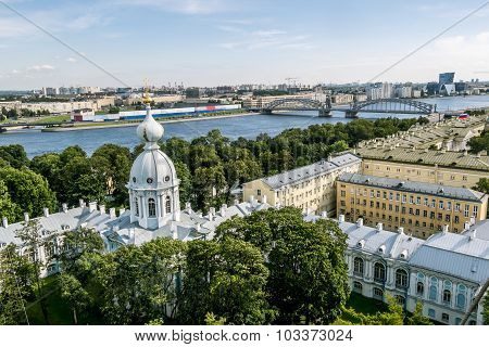 View From The Belfry Of The Smolny Cathedral In St. Petersburg