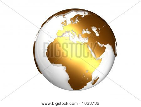 Golden Globe With View On Europe And Africa