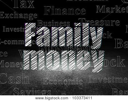 Currency concept: Family Money in grunge dark room