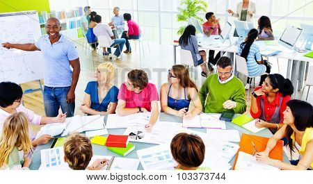 Students University Studying Professor Communication Concept