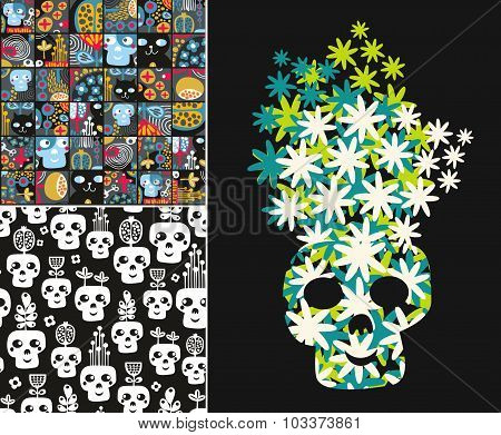 Set of illustrations with cute skulls and flowers.