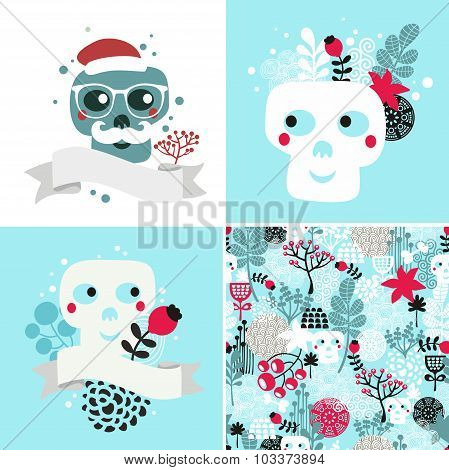 Winter skulls illustrations set.