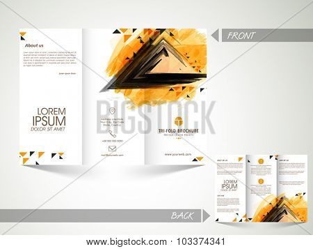 Creative abstract Trifold Brochure, Template or Flyer with front and back side presentation for your Business.