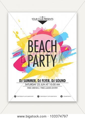 Elegant one page Flyer, Banner or Template design with colorful splash for Beach Party celebration.