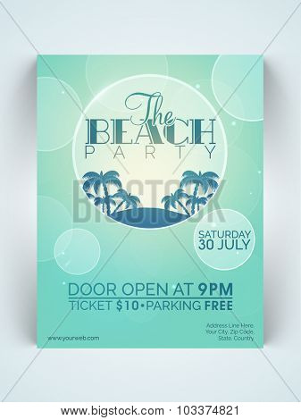 Creative stylish one page Flyer, Banner or Template for Beach Party celebration with date and time details.