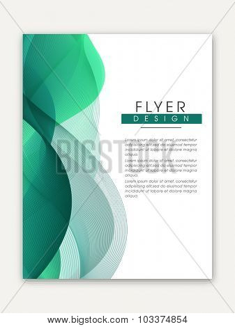 Creative one page Business Flyer, Banner or Template with glossy abstract waves.