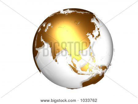 Golden Globe With View On Asia