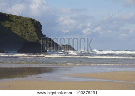 Windy Bedruthan Beach