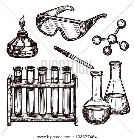 Chemistry Tools Hand Drawn Set