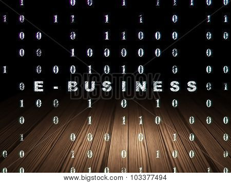 Finance concept: E-business in grunge dark room