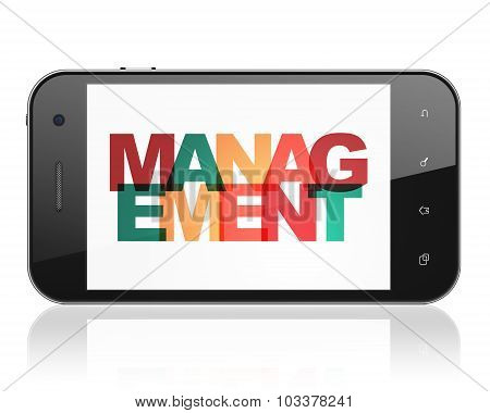 Business concept: Smartphone with Management on  display