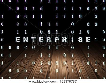 Business concept: Enterprise in grunge dark room