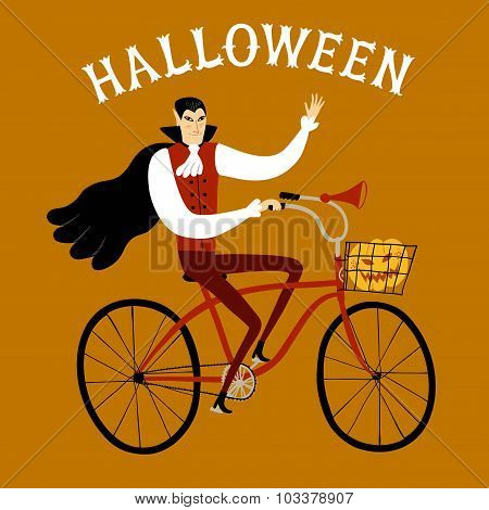 Vampire On City Bicycle With Pumpkin