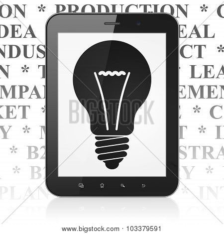 Finance concept: Tablet Computer with Light Bulb on display