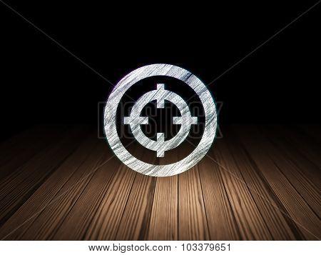 Business concept: Target in grunge dark room