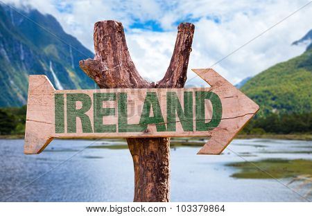 Ireland wooden sign with landscape background