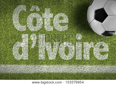 Ivory Coast (in French) Ball in a Soccer field