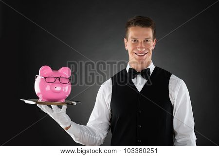 Butler Holding Tray With Piggybank