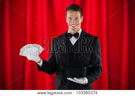 Magician With Magic Cards And Hat
