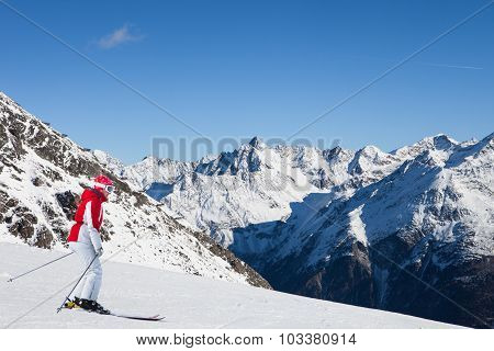 Woman At Ski Resort Of Soelden