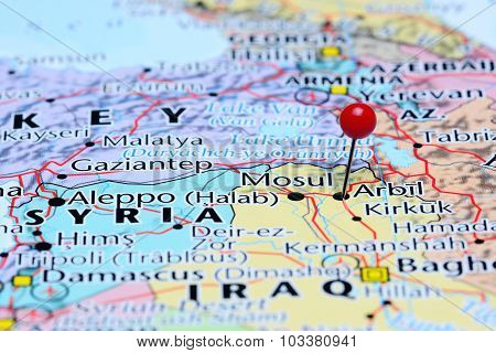 Arbil pinned on a map of Asia